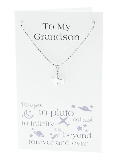 Quan Jewelry Airplane Necklace for Grandson