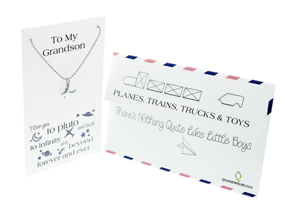 Tom Happy Birthday Cards Airplane Necklace Gifts for Grandson