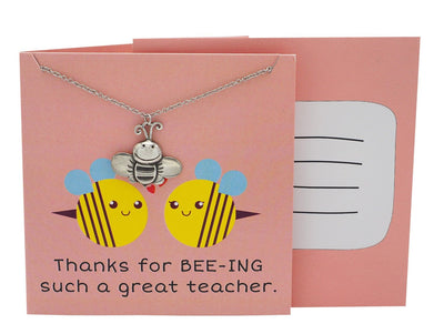 Lauren Teacher Gifts Bee Necklace Thanks for BEE-ING such a Great Teacher! - Quan Jewelry