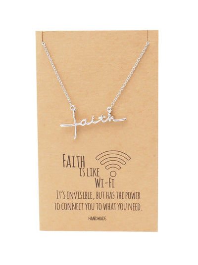 Akela Sideways Faith Pendant Necklace, Gifts for Women with Inspirational Quote on Greeting Card