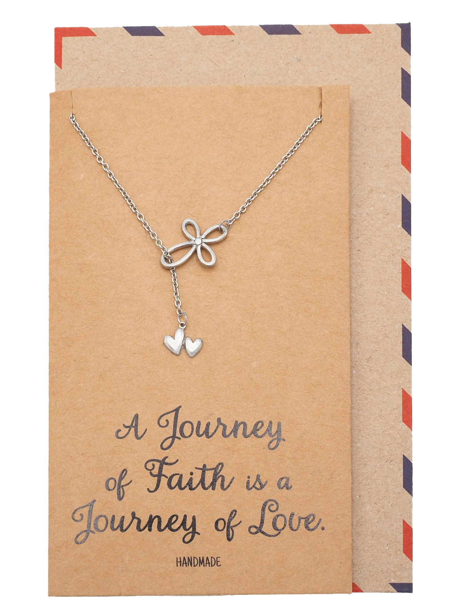 Earleen Infinity Cross and 2 Hearts Pendant Necklace