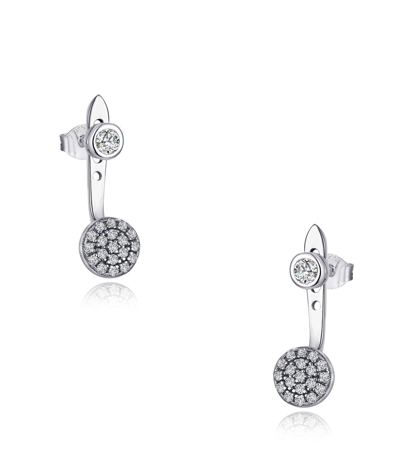 Brenna Rhodium Plating Round Charm Earrings, Ring, Gifts for Mom, Best Friends, Silver Tone - Quan Jewelry
