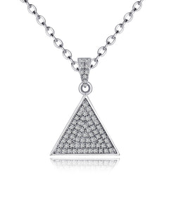 Luella Rhodium Plating Triangle Charm Earrings, Necklace, Gifts for Mom, Best Friends, Silver Tone