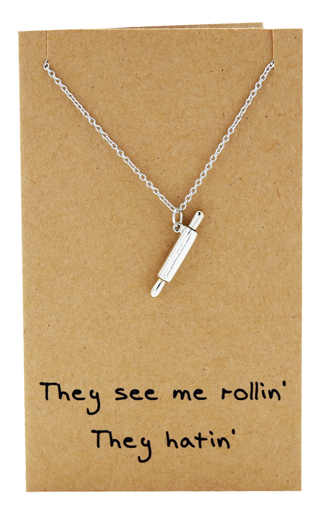Rachel Chef Jewelry with Rolling Pin Pendant, Funny Greeting Card,  - Quan Jewelry - 7