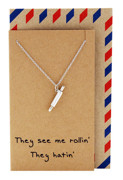 Rachel Chef Jewelry with Rolling Pin Pendant, Funny Greeting Card, Silver - Quan Jewelry - 1