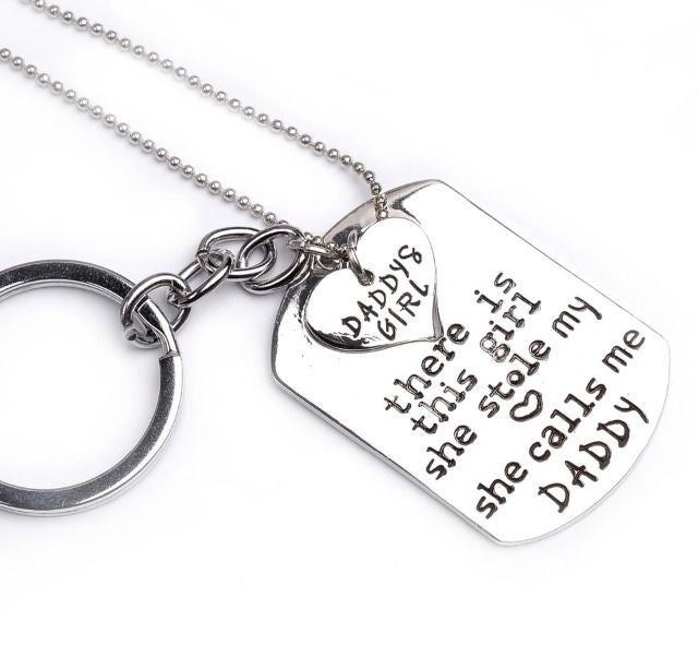 Earl Daddy's Girl Set, Engraved Heart Key chain and