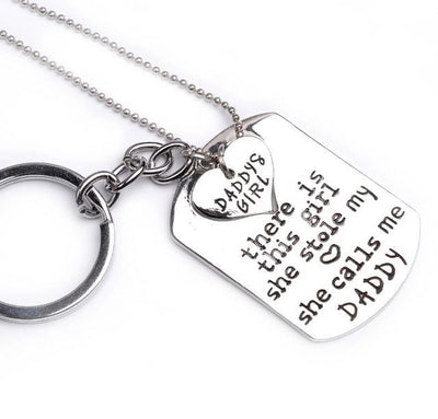 Engraved Heart Key chain and Necklace