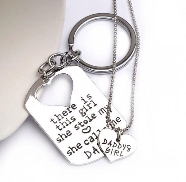 Earl Father Daughter Matching Keychain & Heart Necklace, Silver - Quan Jewelry - 1