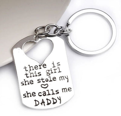 Earl Daddy's Girl Set, Engraved Heart Key chain and Necklace, Gift for Father, with Quote Card - Quan Jewelry