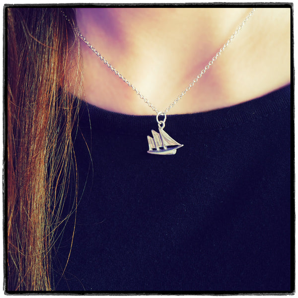 Murielle Sailboat Necklace, Retirement Gifts for Women, Silver / Brown - Quan Jewelry - 1