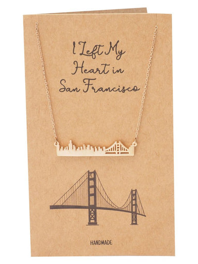 Lorelei Golden Gate Bridge Pendant Necklace Inspirational Gifts with Greeting Card