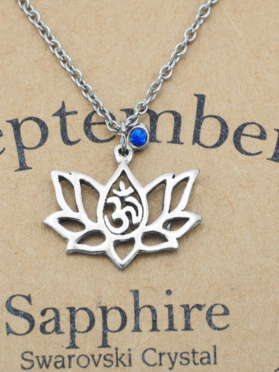 Nancy Lotus Flower Necklace with September Birthstone and OM Symbol Pendant