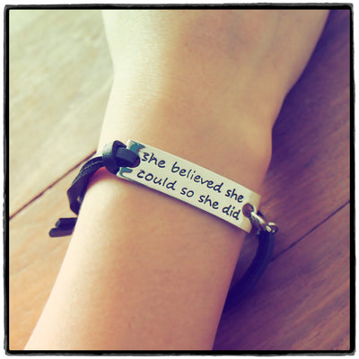 Gwen She Believed She Could So She Did Engraved Bracelet, Inspiring Jewelry - Quan Jewelry