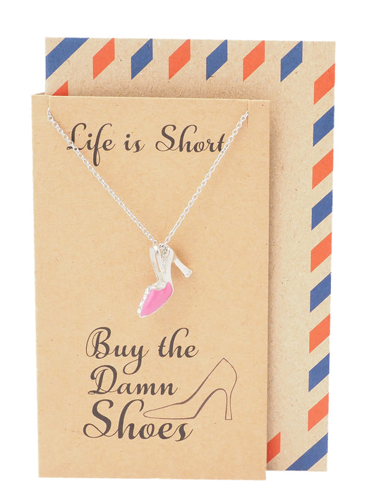 Aimee Shoe Jewelry Charm Necklaces for Women, Funny Gifts for Best Friends with Greeting Card - Quan Jewelry