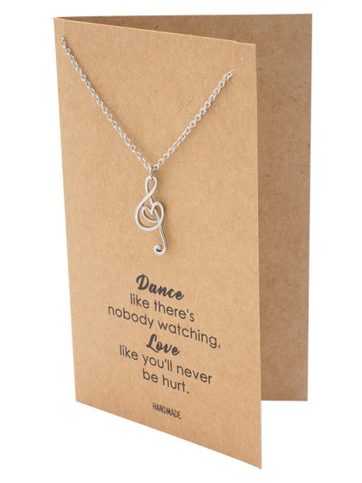Nova Music G-clef Note with Heart Pendant Necklace