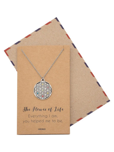 Alina Engraved on Plate Flower of Life Pendant Necklace Inspirational Gifts for Women with Greeting Card