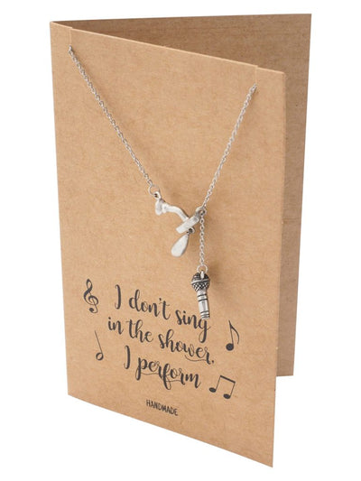Selah Shower and Mic Pendant Necklace, Gifts for Music Lovers with Funny Greeting Card