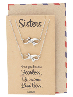 Raissa Sister Fearless Limitless Infinity Necklace, Gifts for Soul Sisters, Inspirational Jewelry