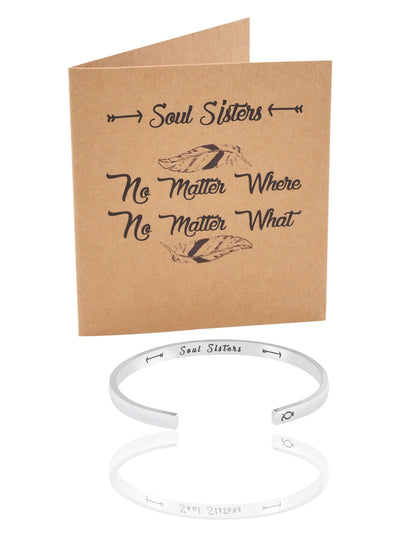 Rylan Soul Sisters Cuff Bracelet, Sister Gifts, Inspirational Quote and Greeting Card