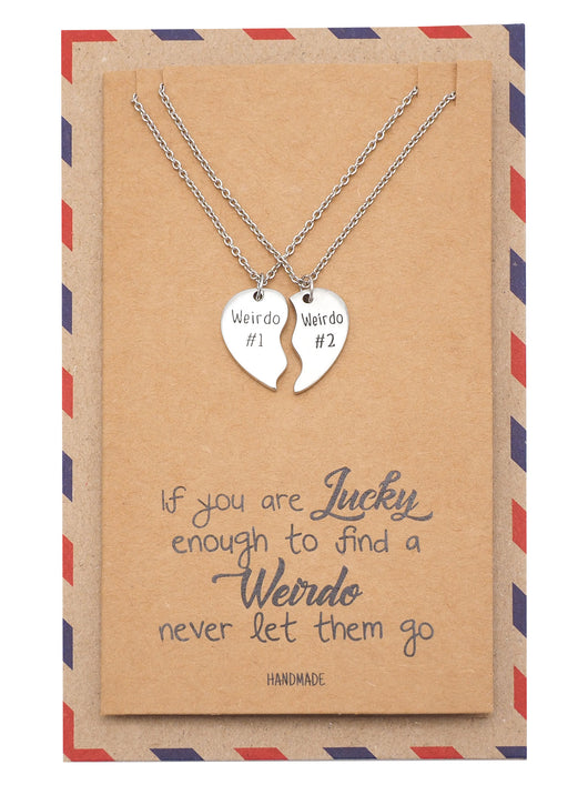 Nicolai Half Hearts Pendant Set of 2 with Weirdo #1 and Weirdo #2 Inscription with Greeting Card