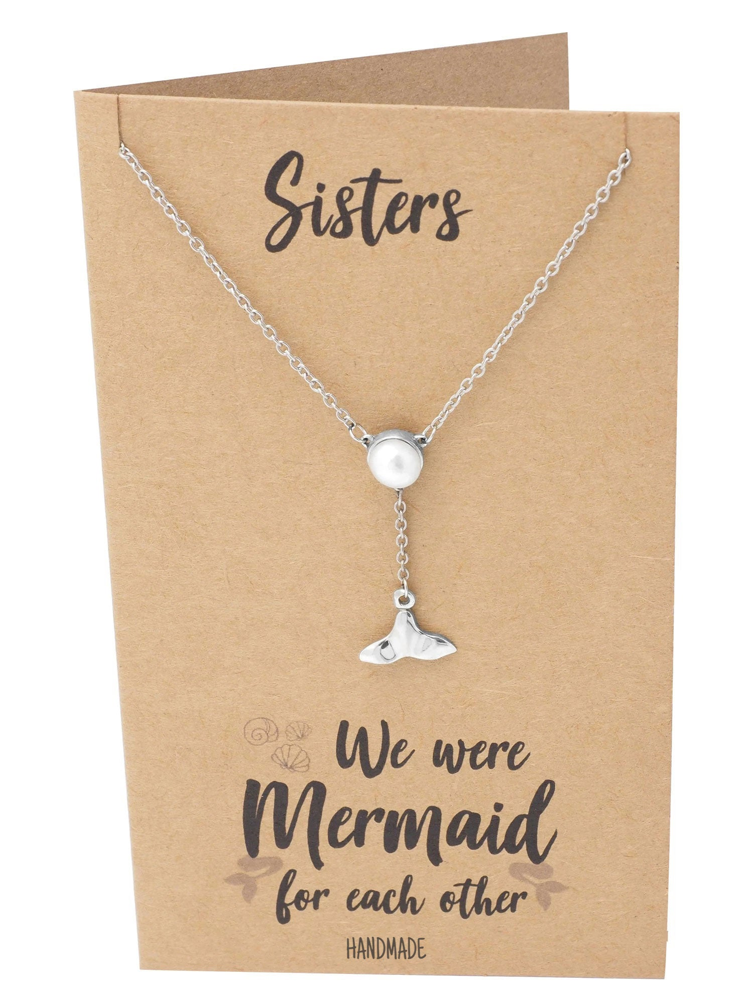 Helen Pearl and Mermaid Tail Necklace for Women, Sister Gifts Jewelry Greeting Card