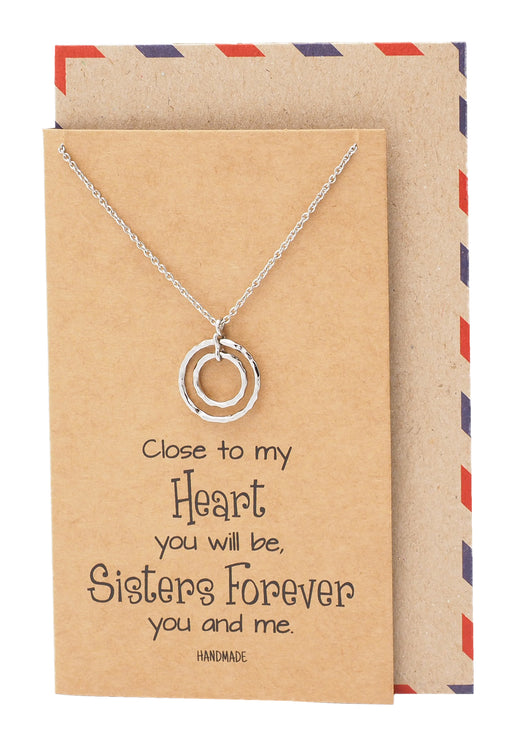 Moira Soul Sisters with 2 Rings Pendant Necklace Inspirational Quote on a Greeting Card