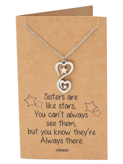 Wynter 2 Stars 2 Hearts Pendant Necklace, Sisters Necklaces, Gifts for Sister Quotes Greeting Card
