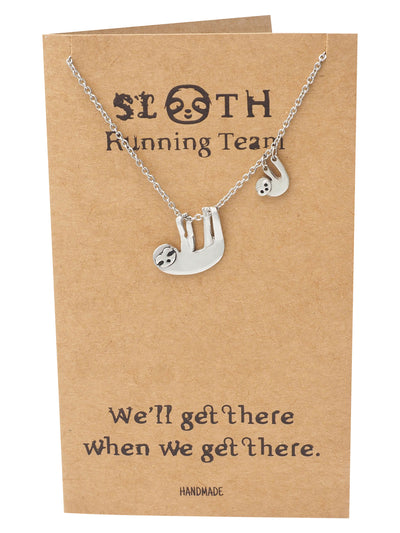 Abilene Two Hanging Sloth Pendant Necklace