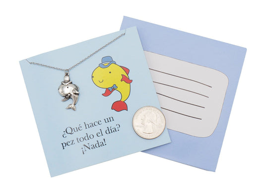 Spanish Funny Quote Birthday Greeting Cards Fish Necklace