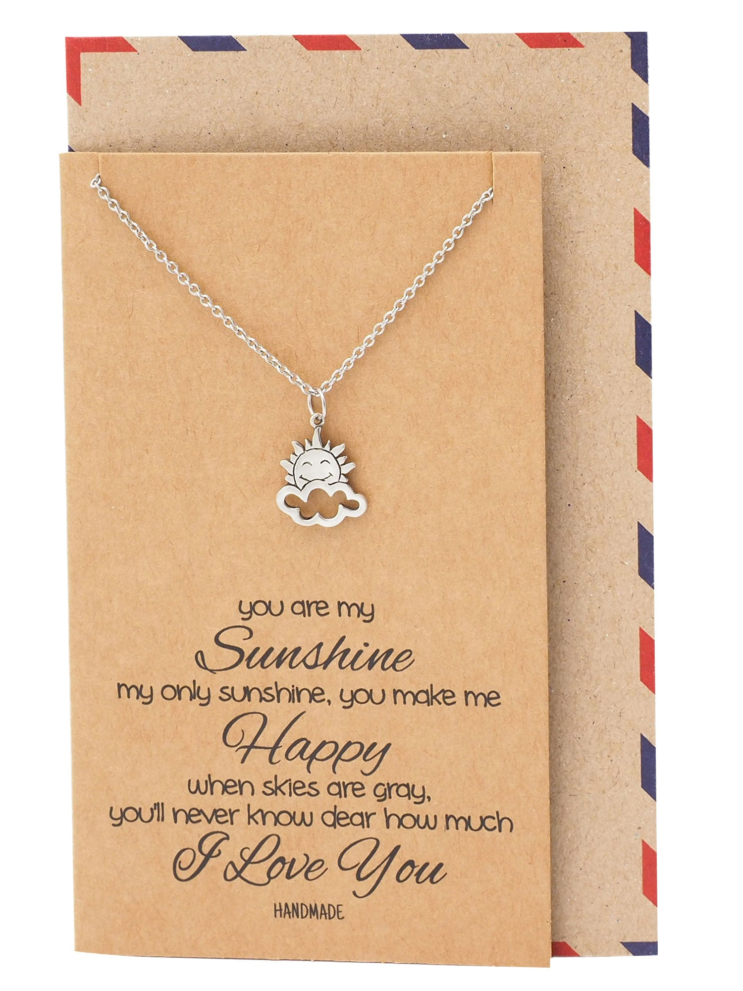 Ellen Sun and Cloud Charms Necklace, You are my Sunshine, Inspirational Quotes with Greeting Card - Quan Jewelry