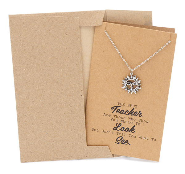Brandi Teacher Quotes Gifts Sun Necklace and Thank You Cards