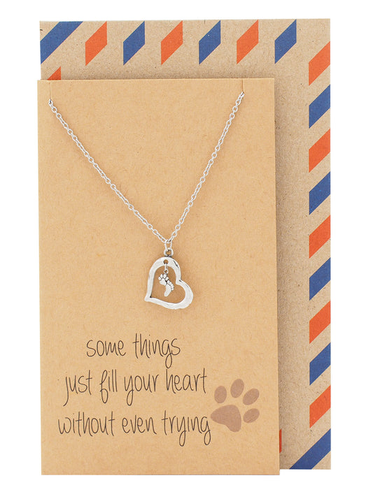 Georgia Sympathy Gifts for Dog Lovers Paw Print Necklace - Quan Jewelry