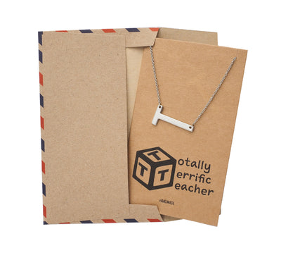 Cerise Sideways T Teacher Pendant Necklace Gifts for Teachers with Greeting Card