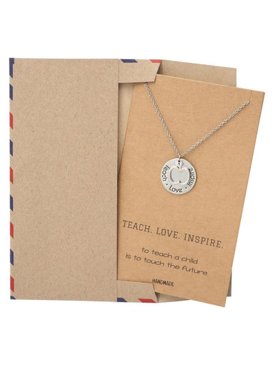 Teach, Love, Inspire Necklace and Greeting Card