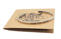 Kris Teach Love Inspire Inspirational Cuff Bracelet for Teachers, Best Teacher Gift - Quan Jewelry
