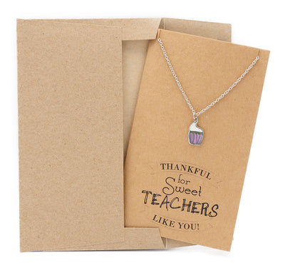Candice Teacher Gifts, Cupcake Necklace and Thank You Cards - Quan Jewelry