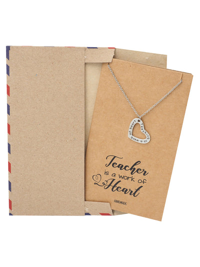 Mercia Heart Shaped Pendant Necklace - Thank You Teacher Heart Necklace, Silver Tone