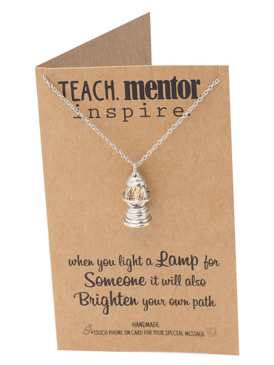 Annalise Lamp Pendant Necklace, Teach Mentor Inspire, Gifts For Women With Inspirational Quotes - Quan Jewelry