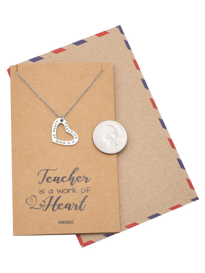 Thank You Teacher Heart Necklace