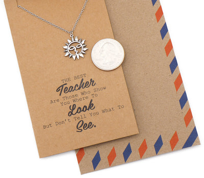 Brandi Teacher Quotes Gifts Sun Necklace and Thank You Cards - Quan Jewelry