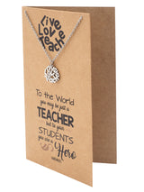 Camille Teacher Necklace Live Love Teach Pendant Best Gift for Teachers