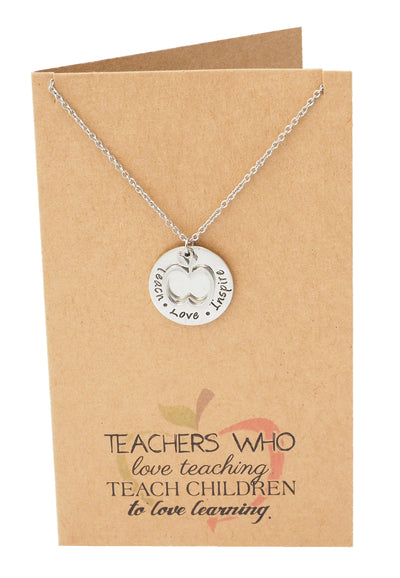 Krissana Teach Love Inspire Necklace, Teachers Appreciation Gifts and Thank You Card