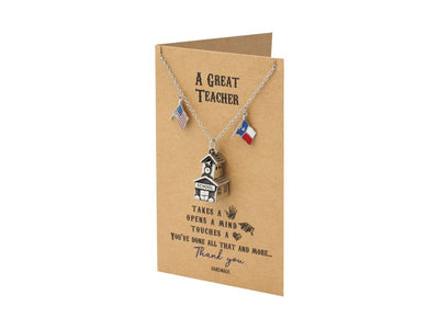 Mirabeau Lamar School House Bell Texas Necklace, School Pendant with Texas and US Flag Charm Teacher Gifts, with Greeting Card