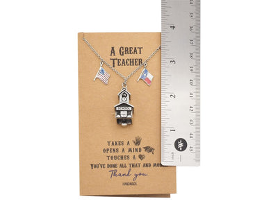 School Pendant with Texas and US Flag Charm Teacher Gifts
