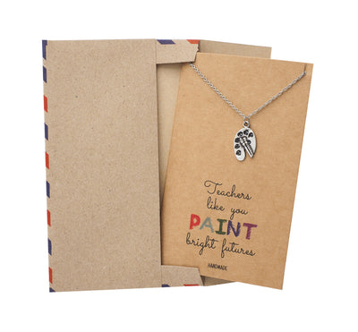 Berthe Teacher Gifts, Palette and Paintbrush Necklace with Greeting Card - Quan Jewelry