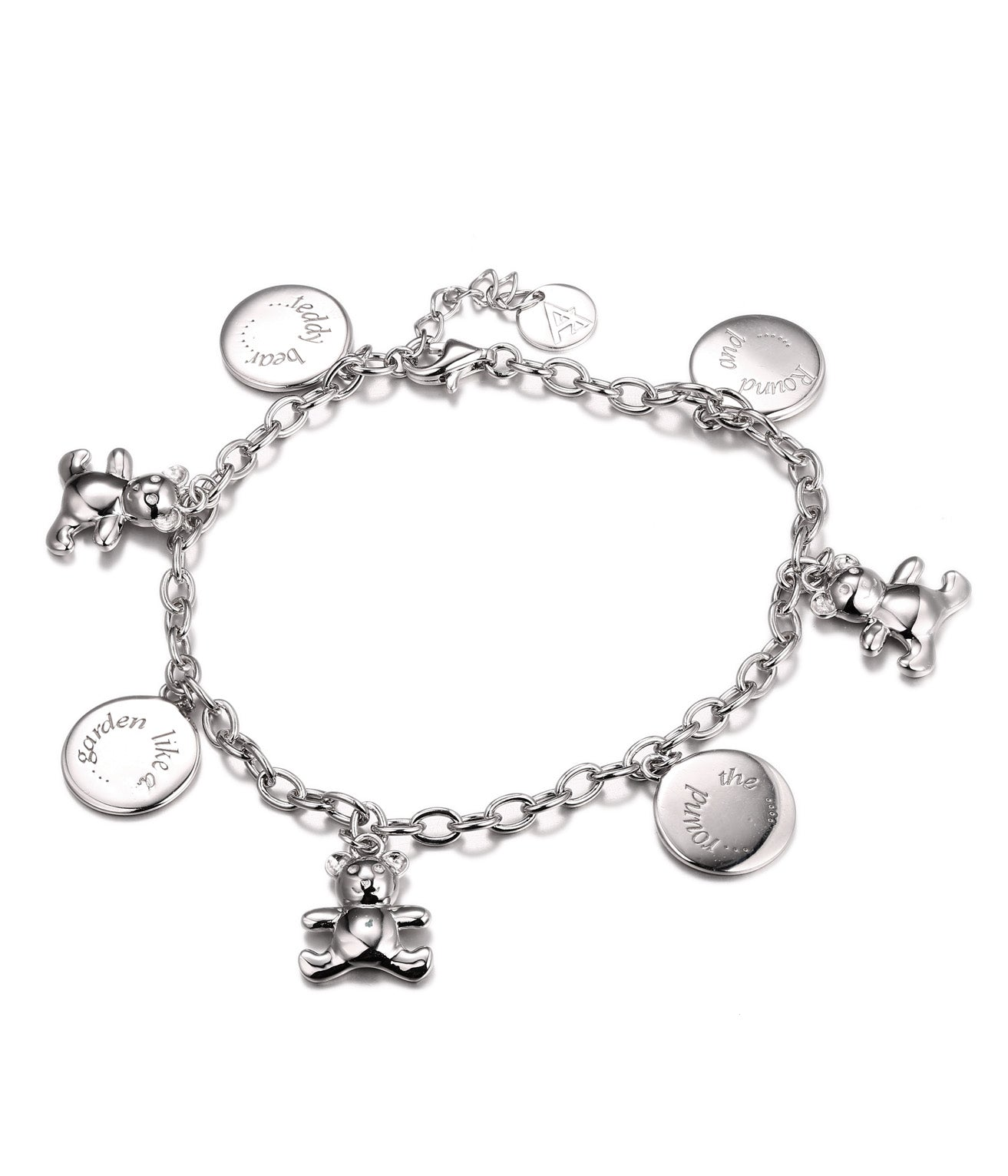 Amina Charm Bracelet, Teddy Bear and Round Charms, 925 Sterling Silver - Quan Jewelry