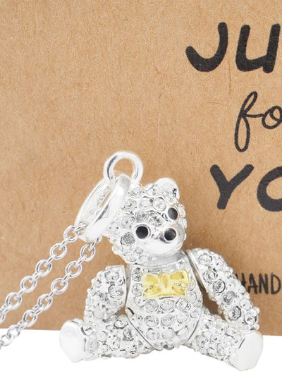 Vada Teddy Bear Pendant Necklace with Inspirational Greeting Card