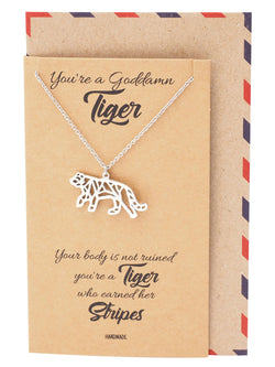 Monica Origami Tiger Necklace, Jewelry Gift for Women, Inspirational Gift with Greeting Card