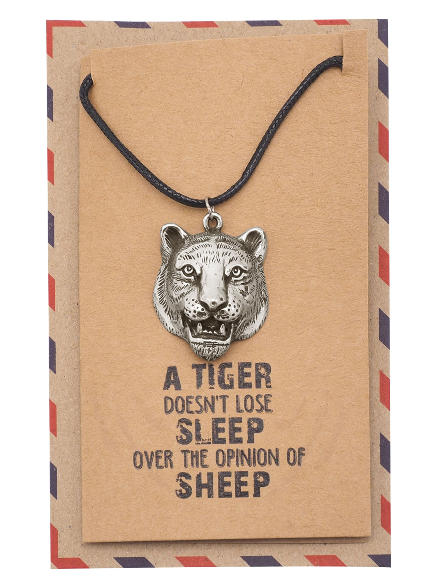 Ephraim Tiger Necklace, Jewelry Gift for Women, Inspirational Gift with Greeting Card - Quan Jewelry