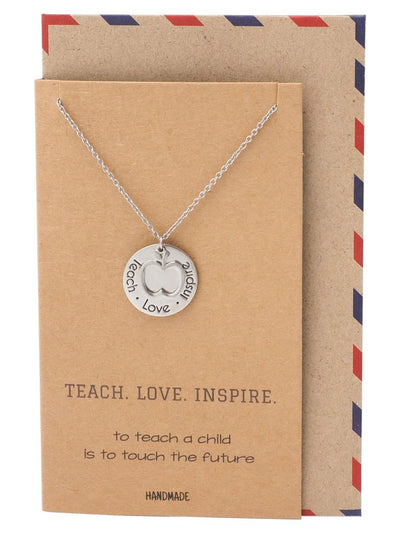 Elise Gifts for Teachers - Teach, Love, Inspire Necklace and Greeting Card